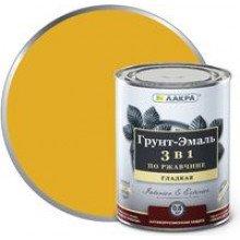 Грунт-эмаль 3в1. ЛАКРА. 0,8кг. Желтая.  По ржавчине, гладкая.