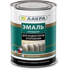Эмаль для радиаторов алкидная полумат. белая Лакра, 0,9кг.