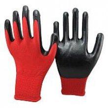 Перчатки х/б красные  с проф.резиной (черной) (китай город)