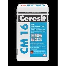 Клей для плитки CM-16 Ceresit, 25кг, плитка, керамогранит. Внутр/наруж. работ. Эластичный. Теп. пол.