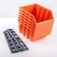 Набор средних лотков для метизов с планкой (6 шт.) оранжевый