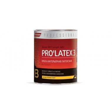 Краска в/э интерьерная латексная моющ. 0,9 л PARADE PRO LATEX E3  база А Матовая
