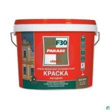 Краска в/э фасадная & цоколь PARADE F30. 9 литр.  акриловая база С. Матовая. Стойк. к микротрещин