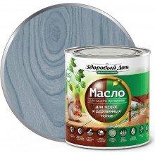 Масло для террас и дерев.полов, Серо-голубое,  0,75л Здоровый дом
