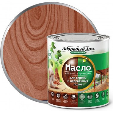Масло для террас и дерев.полов, Махагон, 0,75л Здоровый дом