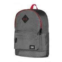 Рюкзак серый, кож. вставки. В43*Ш26*Т13см.