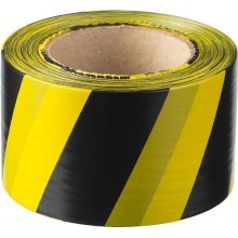 Лента сигнальная черно-желтая 75ммх150метр. SDM