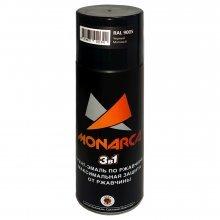 Грунт-эмаль-спрей по ржавчине 3в1. MONARCA Черный матовый. RAL 9005. 520мл/270гр.