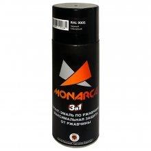 Грунт-эмаль-спрей по ржавчине 3в1. MONARCA Черный глянцевый. RAL 9005. 520мл/270гр.