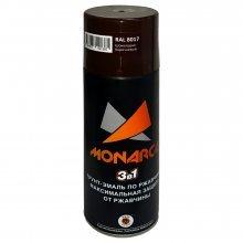 Грунт-эмаль-спрей по ржавчине 3в1. MONARCA Шоколадно-коричневый. RAL 8017. 520мл/270гр.