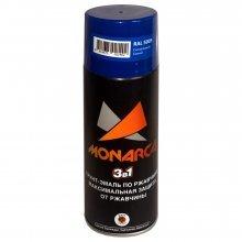 Грунт-эмаль-спрей по ржавчине 3в1. MONARCA Синий сигнальный. RAL 5005. 520мл/270гр.