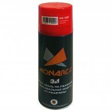 Грунт-эмаль-спрей по ржавчине 3в1. MONARCA Красный светофорный. RAL 3020. 520мл/270гр.