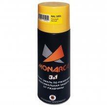 Грунт-эмаль-спрей по ржавчине 3в1. MONARCA Желтый рапсовый. RAL 3020. 520мл/270гр.